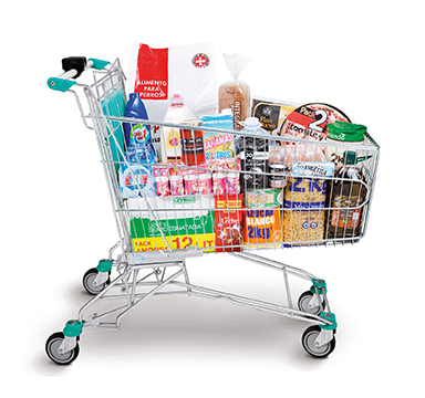 Picture of what is known as the 'Shopping Cart Menu', comprised of food, drink, beauty and personal hygiene and pet care products.