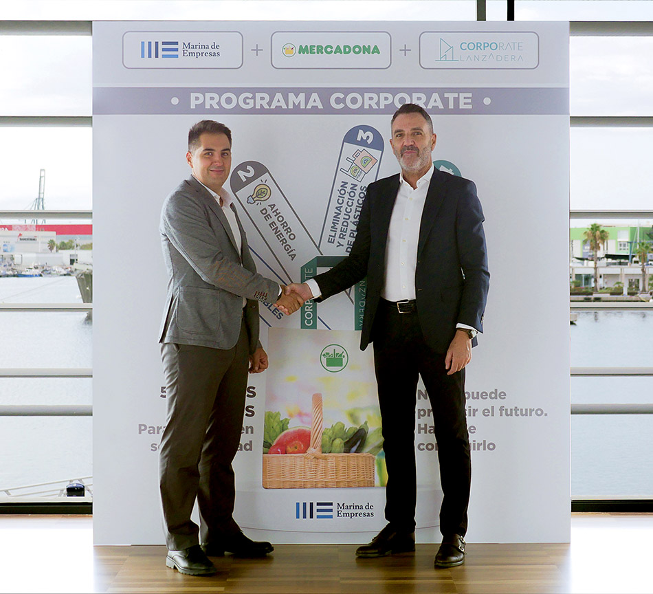 Nichan Bakkalian, Mercadona Organization Manager with Javier Jiménez Marco, Lanzadera Managing Director, at the Marina de Empresas installations