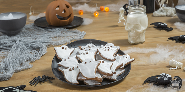 Merienda galletas de fantasmas de Halloween.