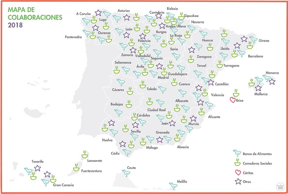 Mapa de colaboraciones de Mercadona en toda España