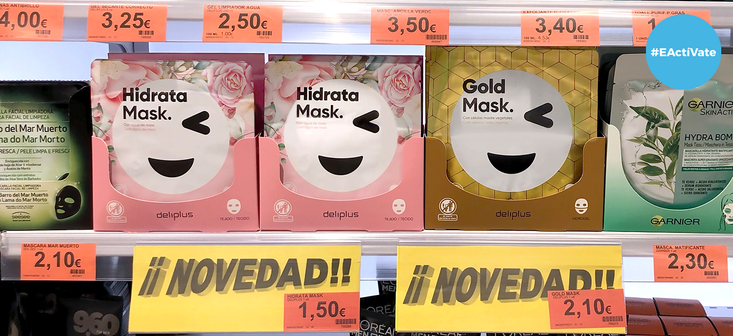 As máscaras faciais Hidrata Mask – Tecido e Gold Mask – Hidroxel, no lineal de Perfumería de Mercadona